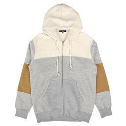 CDG Homme Panelled Zip Hoodie Grey/Brown