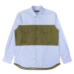 CDG Homme Oxford Stripe Moleskin Shirt Sax