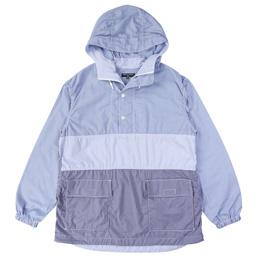 CDG Homme Check Cotton Stripe Parka Blue