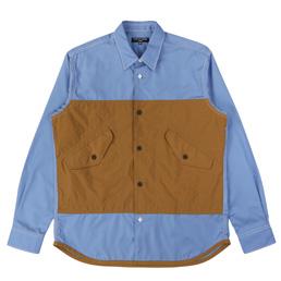 CDG Homme Nylon Oxford Shirt Blue/Brown