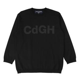 CDG Homme Mercerize Jersey Print Sweater Blk