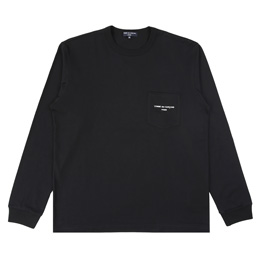 CDGH Cotton Jersey Garment Print LS T-Shrt - Black