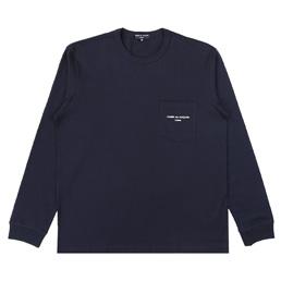 CDGH Cotton Jersey Garment Print LS T-Shirt - Navy
