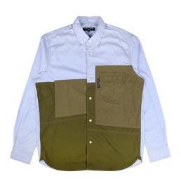 CDG Homme Panelled Ripstop Stripe Shirt Blue/Khaki