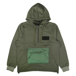 CDG Homme Half Zip Hooded Sweatshirt Khaki