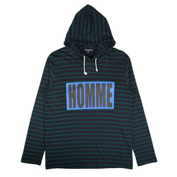 CDG Homme Striped Hooded Sweatshirt Navy/ Green