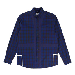 OAMC Mixed Plaid LS Shirt - Navy/Burgundy
