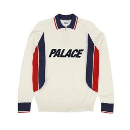 Palace Polo Zip Knit - White
