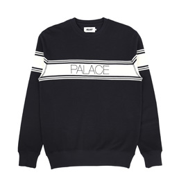 Palace Marina Stripe Pique Crew Navy/ White