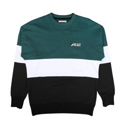 Palace Drop Shoulder Crew Green/White/Black