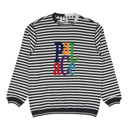 Palace Zig Zag Crew Black/ White Stripes