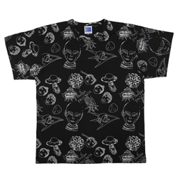 PACCBET Alien Pattern All Over T-Shirt Black