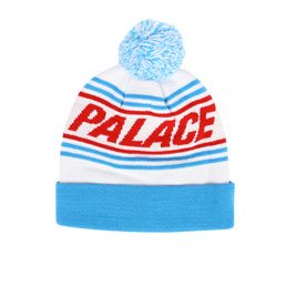 Palace Bobble Hat - White/Blue