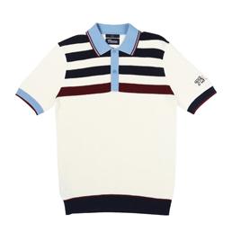Thames x Fred Perry Stripe Knit Shirt Light Ecru