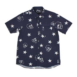 SOPHNET. S/S Skull Star B.D Shirt Navy