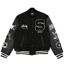 Supply x Stussy Varsity Jacket - Black